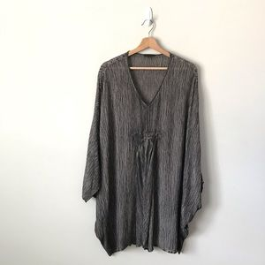 Grizas Silk Crinkle Tunic Dress Top Blouse